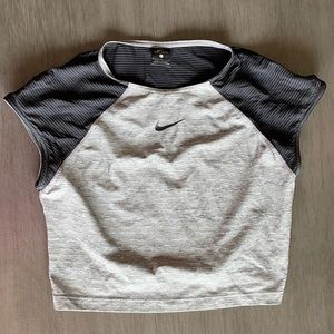 Nike Grey And Black Crop Top With Cap Sleeves